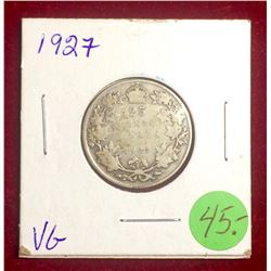 Canada Keydate 1927 25 Cents, Happy Bidding