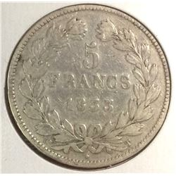 France 1833 5 francs Louis Philippe .900 Silver, PLEASE UNDERSTAND WE ARE NOT PROFESSONIAL GRADER MA