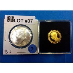 Gold and Silver Coin Duo: John F. Kennedy (22.11.1963) 3,44 gr 980/1000 Half Dollar Kennedy BU