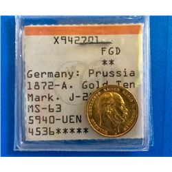 Germany: Prussia 1872-A. Gold ten Mark, J-242 MS-63