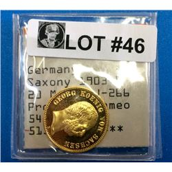 Germany: Saxony 1903-E Gold 20 Marks J-266 Proof - 63 Cameo (.900) weight 7.965