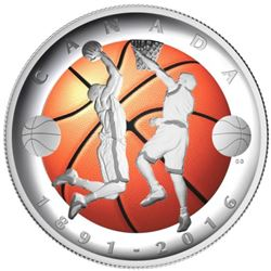 MRC:2016 $25 Fine Silver Coin-125 th Anniversary of the Invention of Basketball, 99.99 Pur