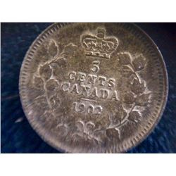 Canada: 1902 Silver 5 Cents Mint state with Nice eyes Appeal