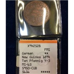 German: New Guinea 1894 10 Pfennig MS-63 24,000 minted