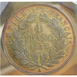France:1858-A One Franc Napoleon III MS-65 Deeply Toned, Rare in Mint State km 779.1