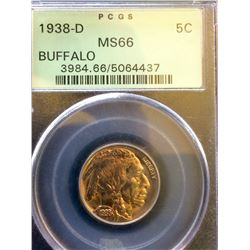 USA: 1938-D Buffalo PCGS MS-66