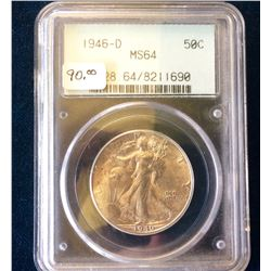 USA: 1946-D Half Dollar Walking Liberty PCGS MS-64