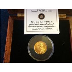 Canada 1912 $5 Premium Hand-Selected Gold Coin, .900% pure, 8,36 gr