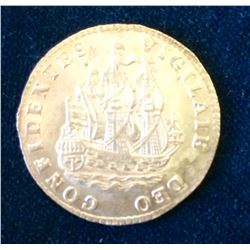 Netherlands: Holland 1722 Six Stuivers Scheepjesschelling KM# 45 MS-63, Ship Shilling, Much Mint Lus