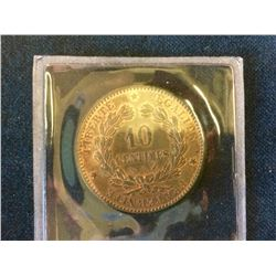 France: 1896-A Ten Centimes MS-63, Mostly Brilliant