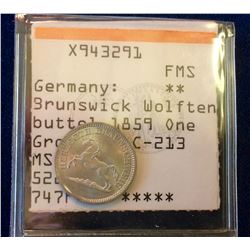 Germany: 1859 One Groschen (1/60 Thaler) Brunswick Wolfter Buttel C-213 MS-65