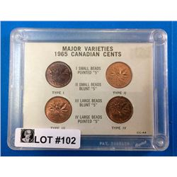 Canada : 1965 Major Varieties Canadian Cents Set-small beads Pte5, Small Beads Blunt5, Large Beads B