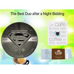 Superman 1 oz pure Duo with 25Gr of the Rarest Coffee in the World Fresh From Kopiluwak.ca