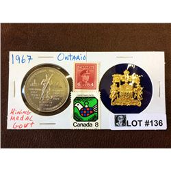 Ontario Mining Medal Government, contain Gold, Nickel, Zinc, Platinium, Silver, Copper and Iron