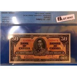 Canada Banknote 1937 50 Dollars Certified AU-58