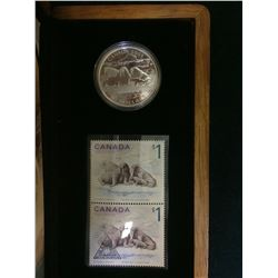 MRC: 2005 Canada 1 Dollar sterling coin and Stamp -Walrus and Calf