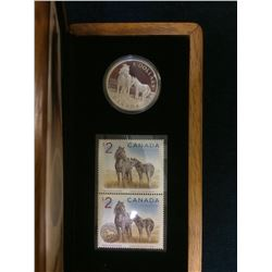 MRC: 2006 Canada 5 Dollar sterling coin and Stamp -Sable Island Horse and Foal