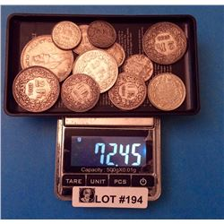 Switzerland : Lot of 12 .835% Silver coin, 72,45 gr