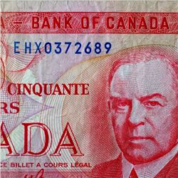 Banknote: Bank of Canada 1975 Replacement Note EHX0372689 BC-51a-i F-15 CCCS -Changeover