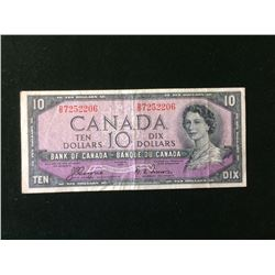 Banknote: 1954 Canada 10 Dollars Devil's Face BC-32a D/D 7252206-Coyne-Towers