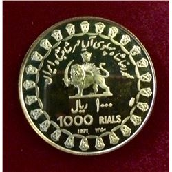 Iran: 1971 1000 Rials Gold .900 Proof Coin, First Limited Issue 12,97 gr