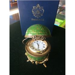 Faberge Porcelain Clock Hand Painted with Silver Gold Plated Base, working perfectly