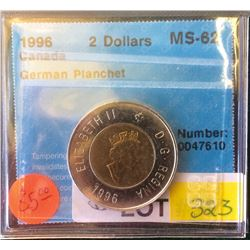Canada 1996 2 Dollars MS-62 Germain Planchet CCCS