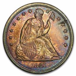 1841 Liberty Seated Dollar AU RARE DATE