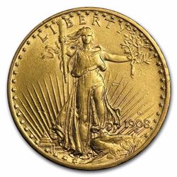 1908-D $20 St. Gaudens Gold Double Eagle w/Motto BU
