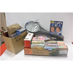 2 BOXES OF MOVIES, COLLECTIBLES & HOUSEHOLD
