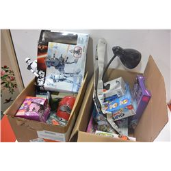 2 BOXES OF HOUSEHOLD ITEMS & ELECTRONICS