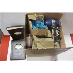 BOX OF GLASSWARE, NEW PHOTO ALBUMS, HOUSEHOLD