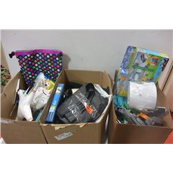 3 BOXES OF HOUSEHOLD ITEMS & ELECTRONICS