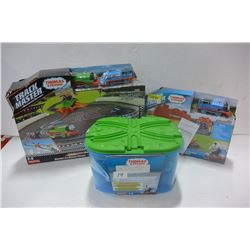 THOMAS THE TRAIN STARTER SET, RACEWAY SET & BIN OF TRACK
