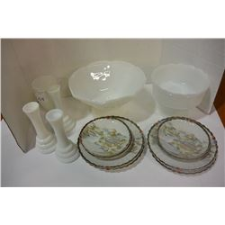 LOT OF MILKGLASS DISHES & VASES & CHINA