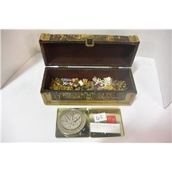 CONTAINER OF VARIOUS PINS AND BELT BUCKLE