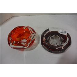 2 ART GLASS ASHTRAYS