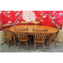 MAPLE DINING TABLE W/ LEAF & 6 CHAIRS