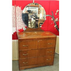 3 DRAWER WATERFALL DRESSER W/ MIRROR