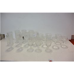 SHELF LOT OF CRYSTAL GLASSES