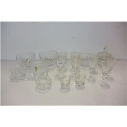 LOT OF CRYSTAL GLASSES AND DISHES