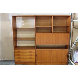 3 PC TEAK WALL UNIT WITH KEY