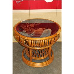 RATTAN END TABLE WITH ETCHED GLASS TOP