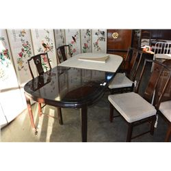 EASTERN TABLE W/ 2 LEAVES & 4 CHAIRS & TABLE PROTECTORS