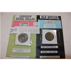 CANADIAN NICKLE DOLLAR AND BRITISH COIN