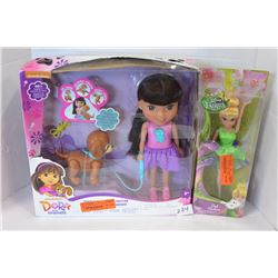 DORA DOLL W/ DOG & TINKERBELL DOLL