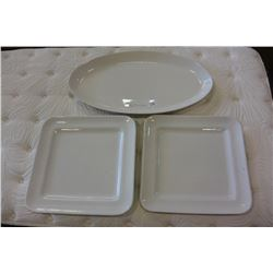 THREE LARGE MADE IN PORTUGAL PLATTERS