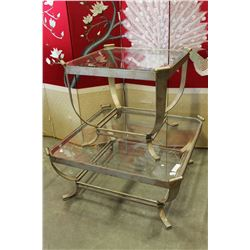 DESIGNER GLASS TOP COFFEE TABLE AND ENDTABLE