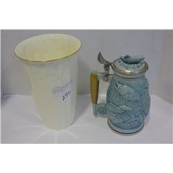 FISHING BEER STEIN AND PHALTZGRAFF VASE