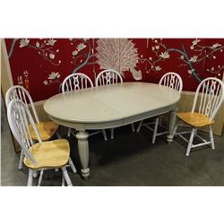 ROUND MODERN DINING TABLE WITH LEAF AND SIX ARROWBACK CHAIRS